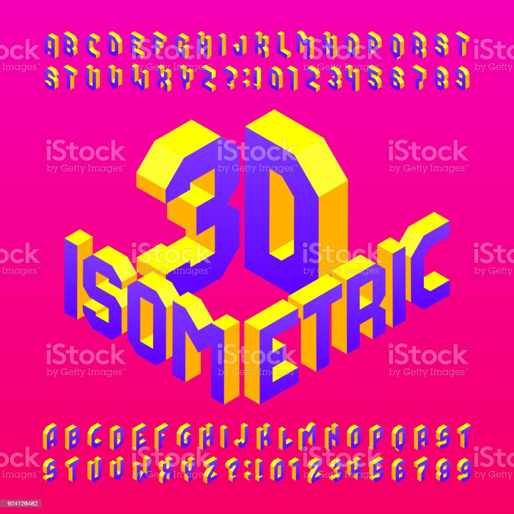 Isometric Alphabet Font 3d Effect Letters And Numbers ...