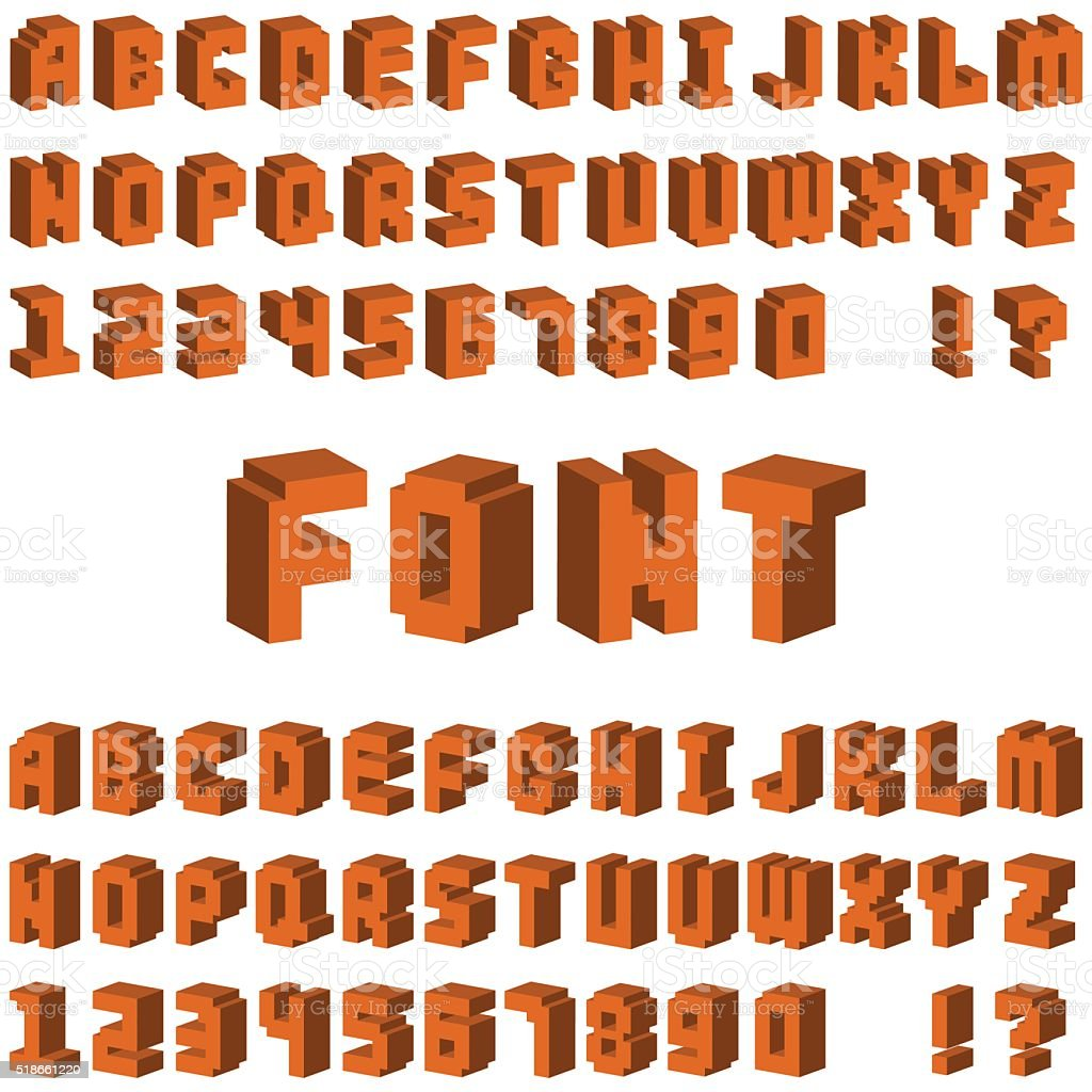 isometric alphabet font 3d letters for web mobile device vector