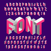 Isometric alphabet font. Three-dimensional effect letters and numbers.
