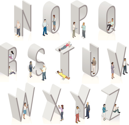 Isometric Alphabet N through Z with People