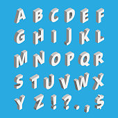 Isometric alphabet. Techno font with block letters