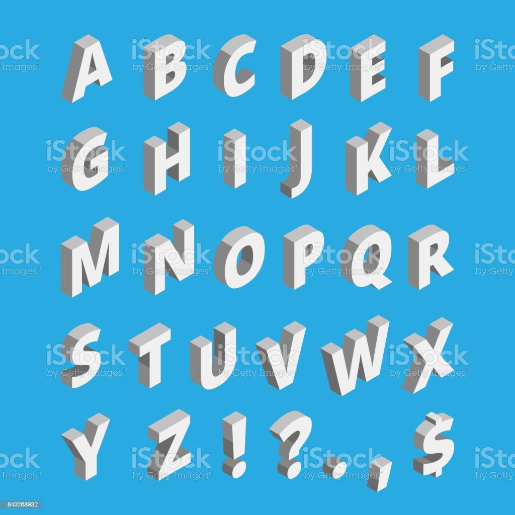 Isometric alphabet. Techno font with block letters vector art illustration