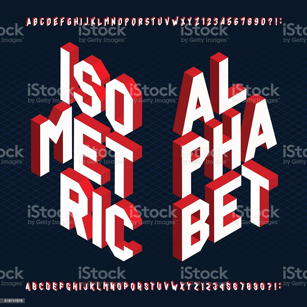 3D isometric alphabet vector font. vector art illustration