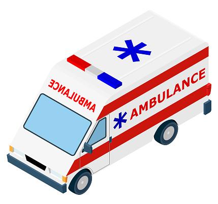 Isometric Ambulance Car.