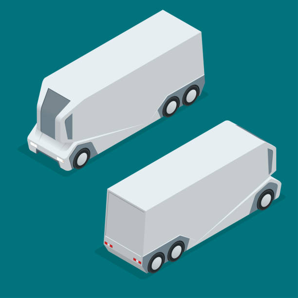 illustrazioni stock, clip art, cartoni animati e icone di tendenza di isometric an unmanned truck on the remote control. automatic delivery system concept. self-driving van isolated for web projects, business presentations, infographics and game - metal robot in logistic factory