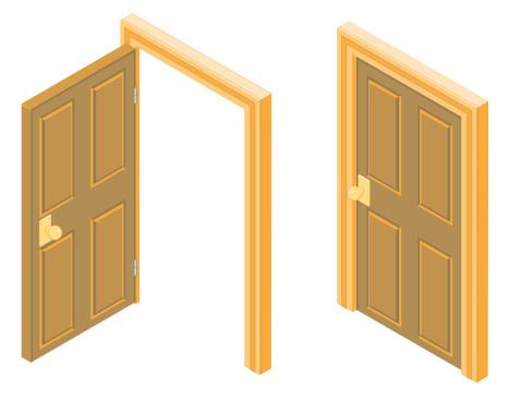 Isometric and wooden door illustration