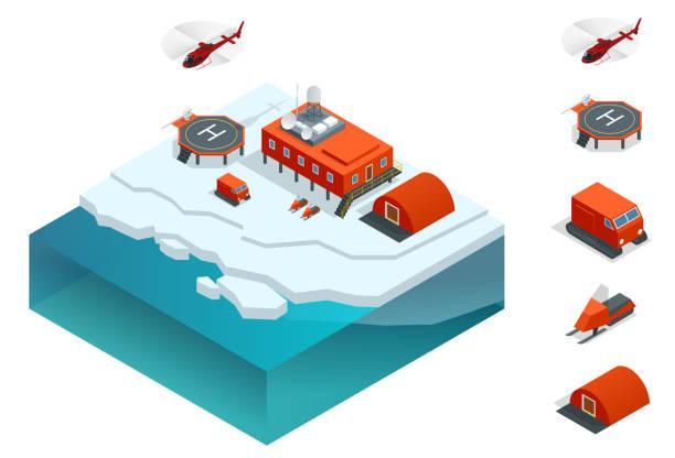 Isometrische Antarktis-Station oder polar mit Wetterforschung Messung Turm, Fahrzeuge, Gebäude, Hubschrauberlandeplatz. – Vektorgrafik