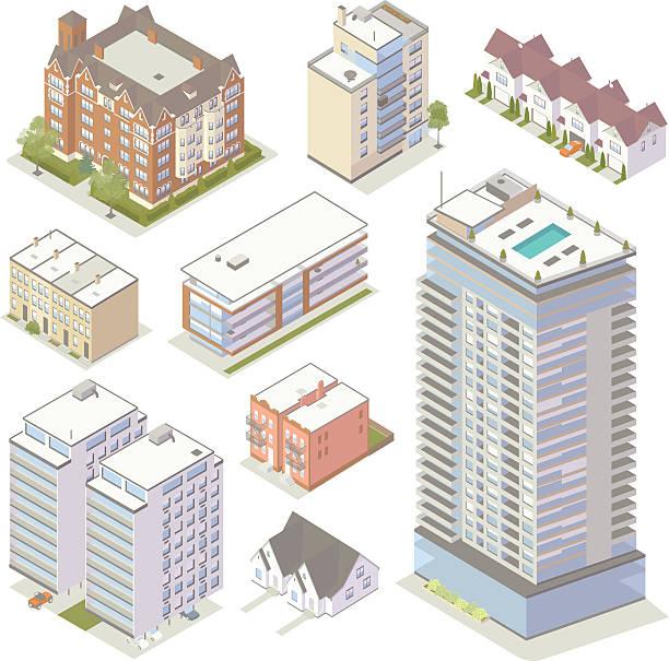 Isometric Apartment Buildings vector art illustration