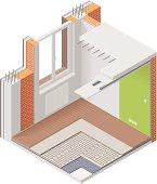 Isometric apartment cutaway icon