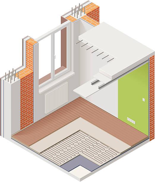 isometric apartment cutaway-symbol - halbwände stock-grafiken, -clipart, -cartoons und -symbole
