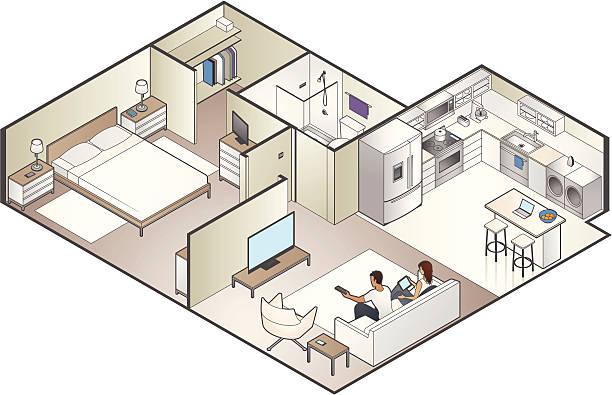 Isometric Apartment Cutaway vector art illustration