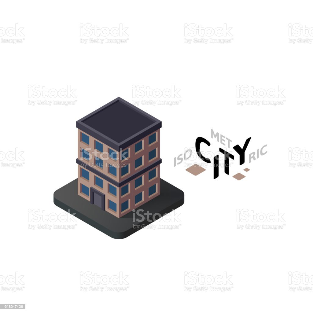 Isometric apartment house icon, building city infographic element, vector illustration vector art illustration