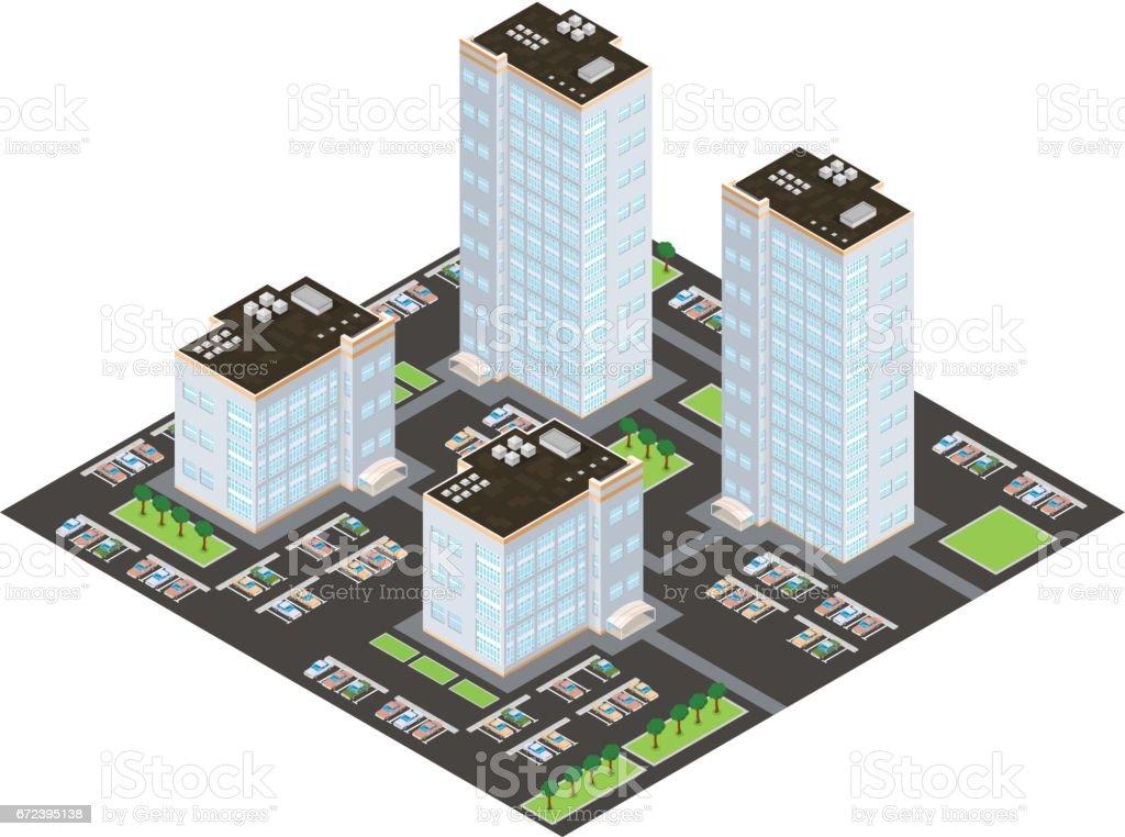 Isometric Apartmet Building Complex Icon vector art illustration