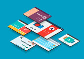 Isometric app concept, vector modern 3d semi flat design