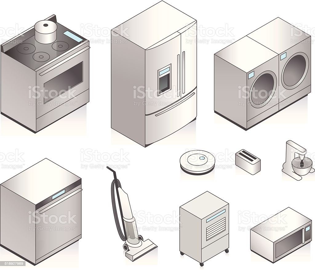 Isometric Appliances Illustration vector art illustration