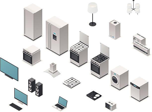 Isometric appliances Set of the domestic electronics isometric icons stove stock illustrations