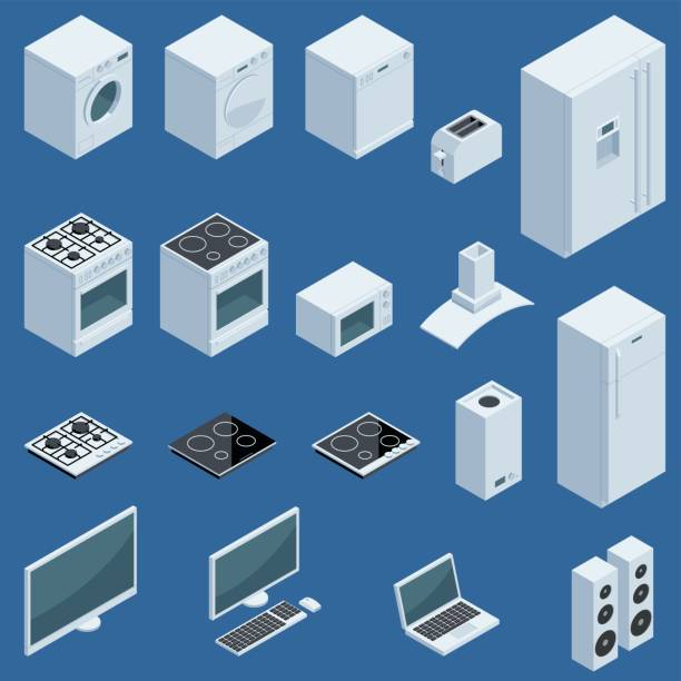 Isometric Appliances Set of isometric home appliances. Global colors used easy to edit. stove stock illustrations