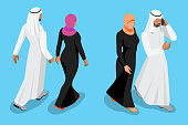 Isometric arabic couple front and back view vector illustration.