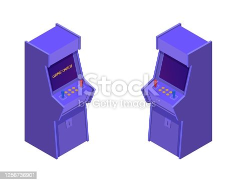 istock Isometric arcade game machines. Retro purple consoles with two joysticks and control buttons. 1256736901