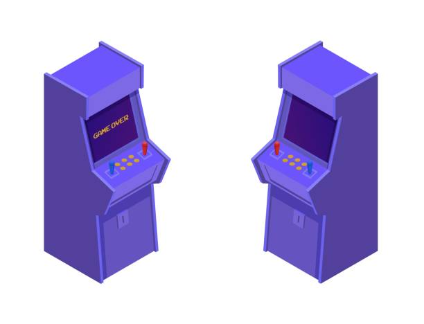Isometric arcade game machines. Retro purple consoles with two joysticks and control buttons.