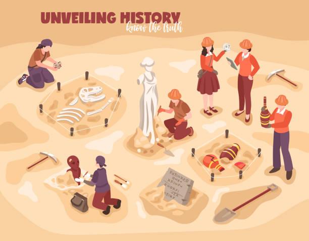 illustrations, cliparts, dessins animés et icônes de illustration d'archéologie isométrique - camera sculpture