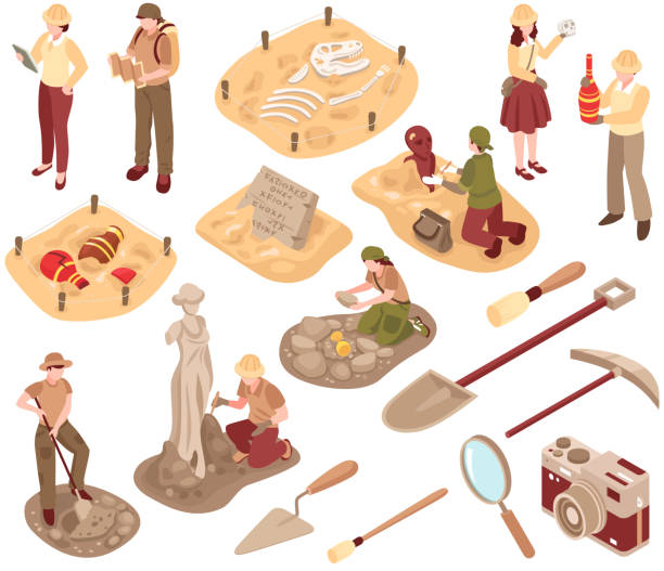 illustrations, cliparts, dessins animés et icônes de ensemble d'archéologie isométrique - camera sculpture