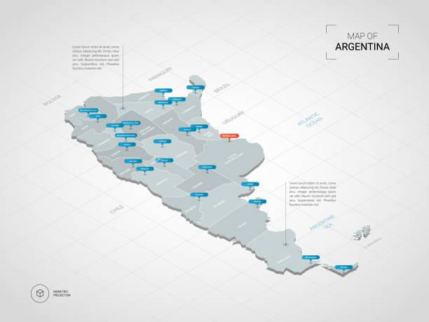 illustrations, cliparts, dessins animés et icônes de carte d'argentine isométrique avec noms de villes et de divisions administratives. - argentine