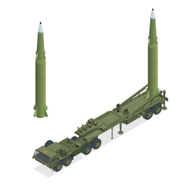 bildbanksillustrationer, clip art samt tecknat material och ikoner med isometrisk armétraktor med raket. medeldistansballistisk missil. konventionellt högexplosivt,penetration, underammunition, brand, termodysk, strategiskt kärnvapen - traktor pulling