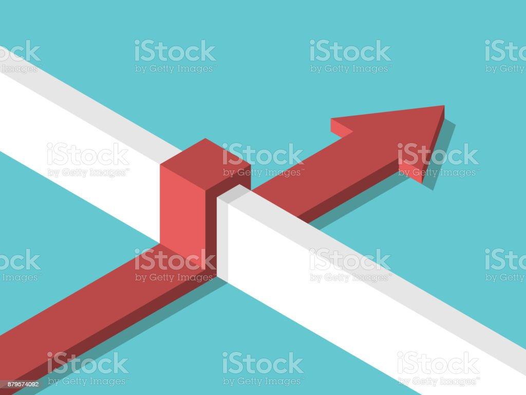 Isometric arrow above wall royalty-free isometric arrow above wall stock illustration - download image now