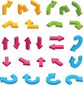 Isometric arrows vector set. Infographic isometric elements