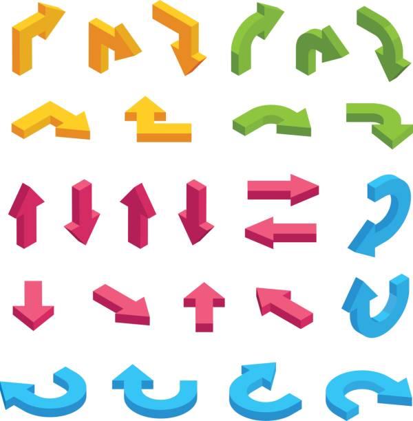 Isometric arrows vector set. Infographic isometric elements vector art illustration