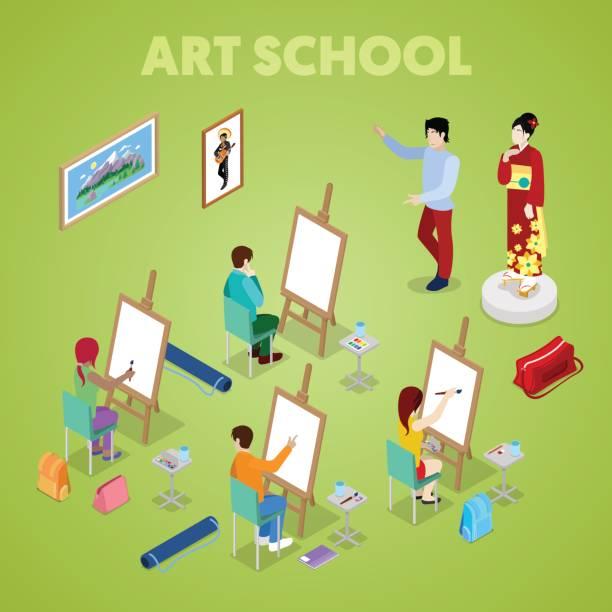 isometrische kunstkonzept. klasse mit studenten maler. menschen zeichnen lernen - hausfarbpaletten stock-grafiken, -clipart, -cartoons und -symbole