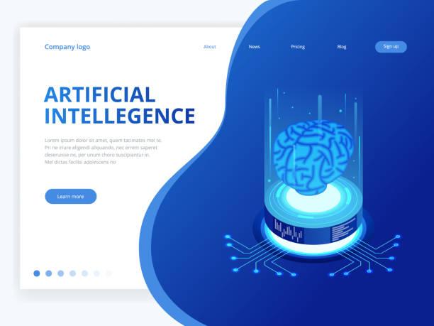Concepto de negocio de inteligencia artificial isométrico. Concepto de ingeniería y tecnología, tecnología futura de datos conexión pc smartphone. - ilustración de arte vectorial