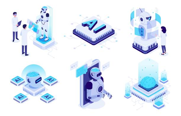 Isometric artificial intelligence. Digital brain neural network, AI servers and robots technology vector illustration set Isometric artificial intelligence. Digital brain neural network, AI servers and robots technology, artificial bot mind and intelligent robotic building. Isolated vector illustration icons set machine learning stock illustrations