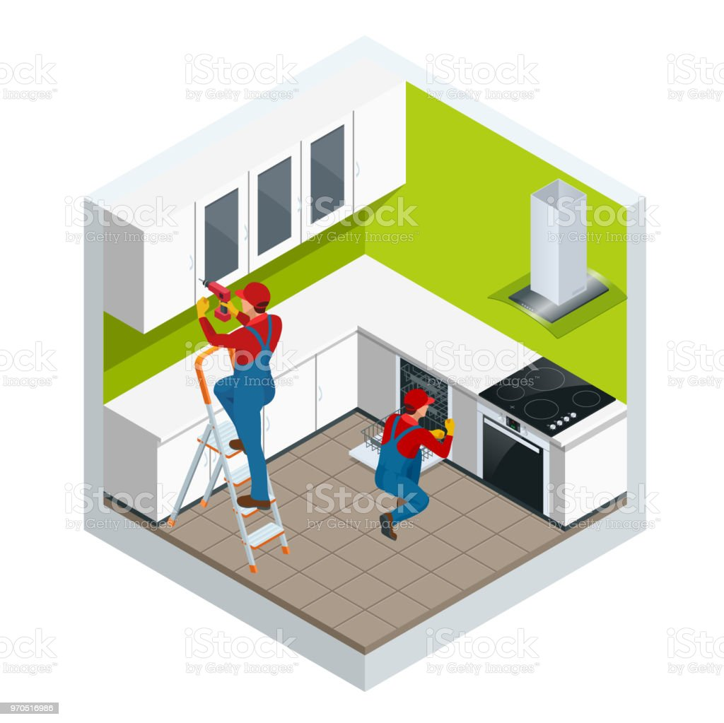 Isometric Assembly Of Kitchen Of Furniture In The Studio