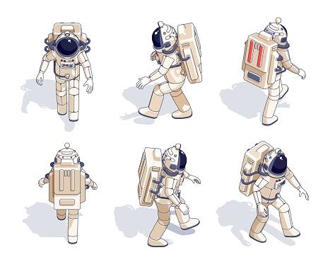 Isometric astronaut in spacesuit set.
