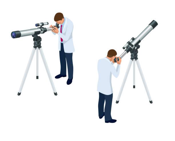 ilustrações de stock, clip art, desenhos animados e ícones de isometric astronomer through the telescope looks at the sky isolated on white background - astronomia