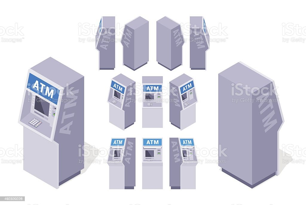 Isometric ATMs vector art illustration