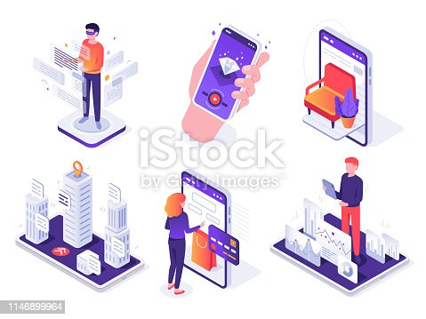 Isometric augmented reality smartphone. Mobile AR platform, virtual game and smartphones 3d navigation. Future communication resource technology. Vector concept isolated icons illustration set