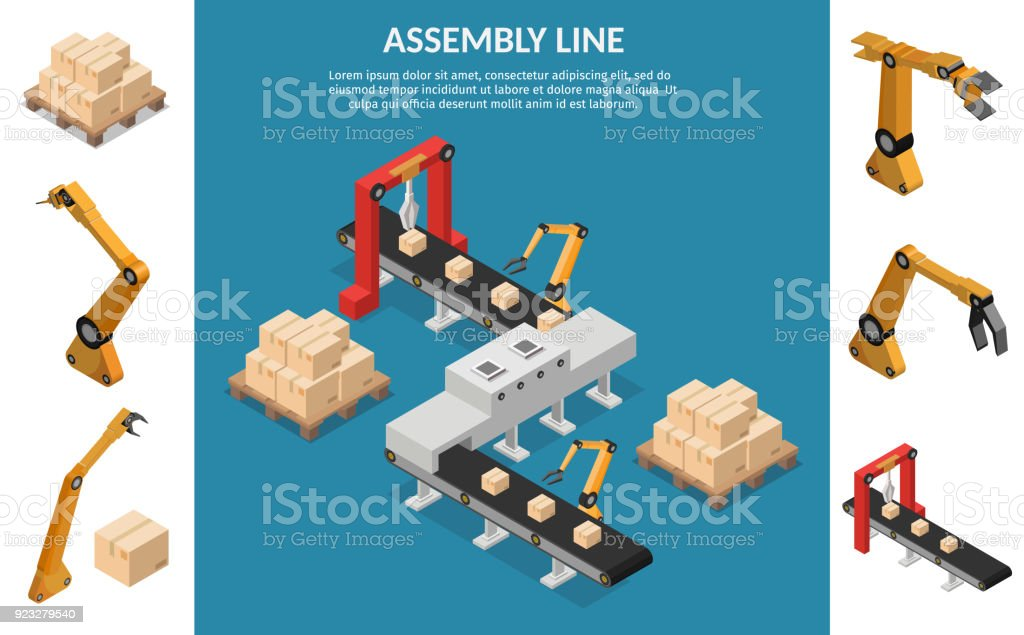 Isometric Automation abstract robotic assembly line set flat isolated vector illustration background