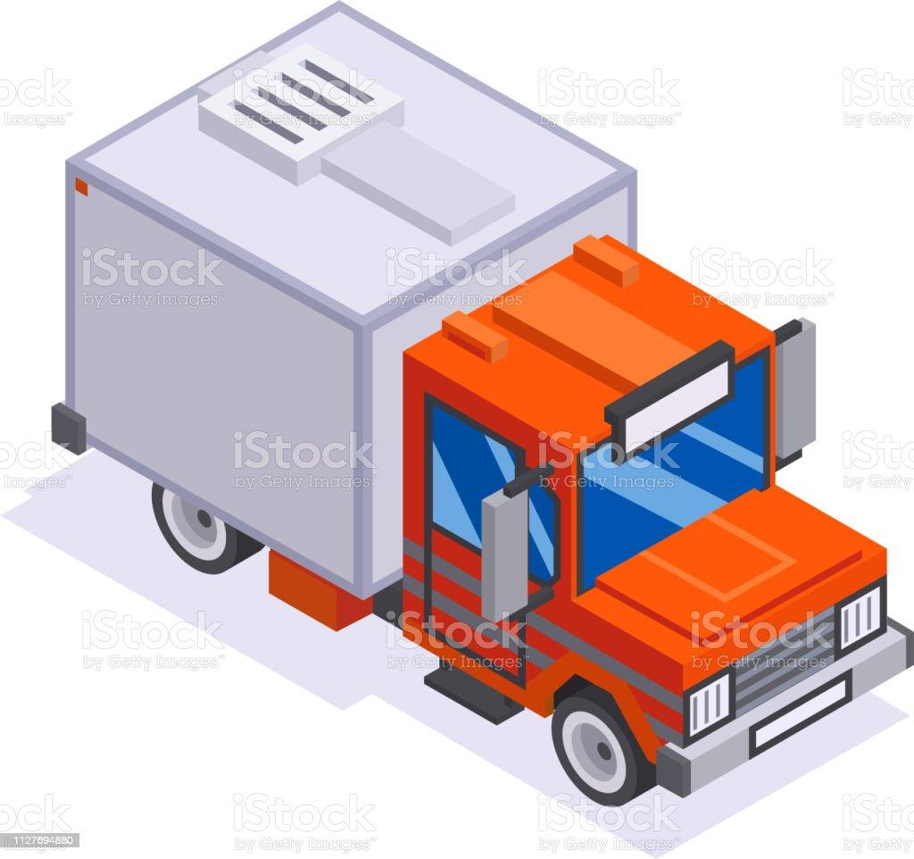 Isometric Automobile Van Transportation Delivery Truck 3d