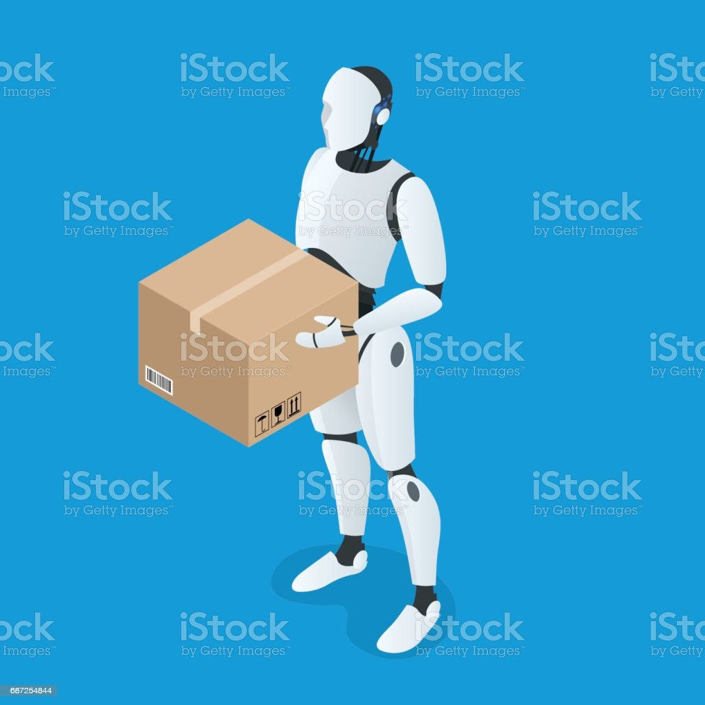 Isometric autonomous Delivery Robot. Flat vector Isolated on white illustration. vector art illustration