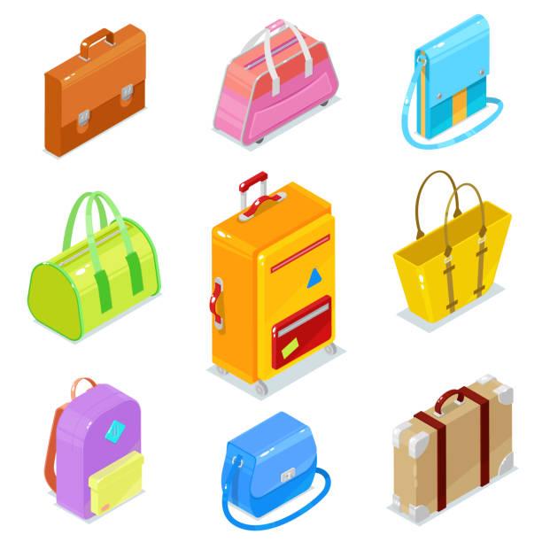 isometrische taschen und koffer - lederranzen stock-grafiken, -clipart, -cartoons und -symbole