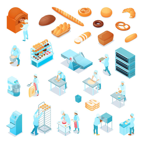 ilustrações de stock, clip art, desenhos animados e ícones de isometric bakery set - kitchen counter