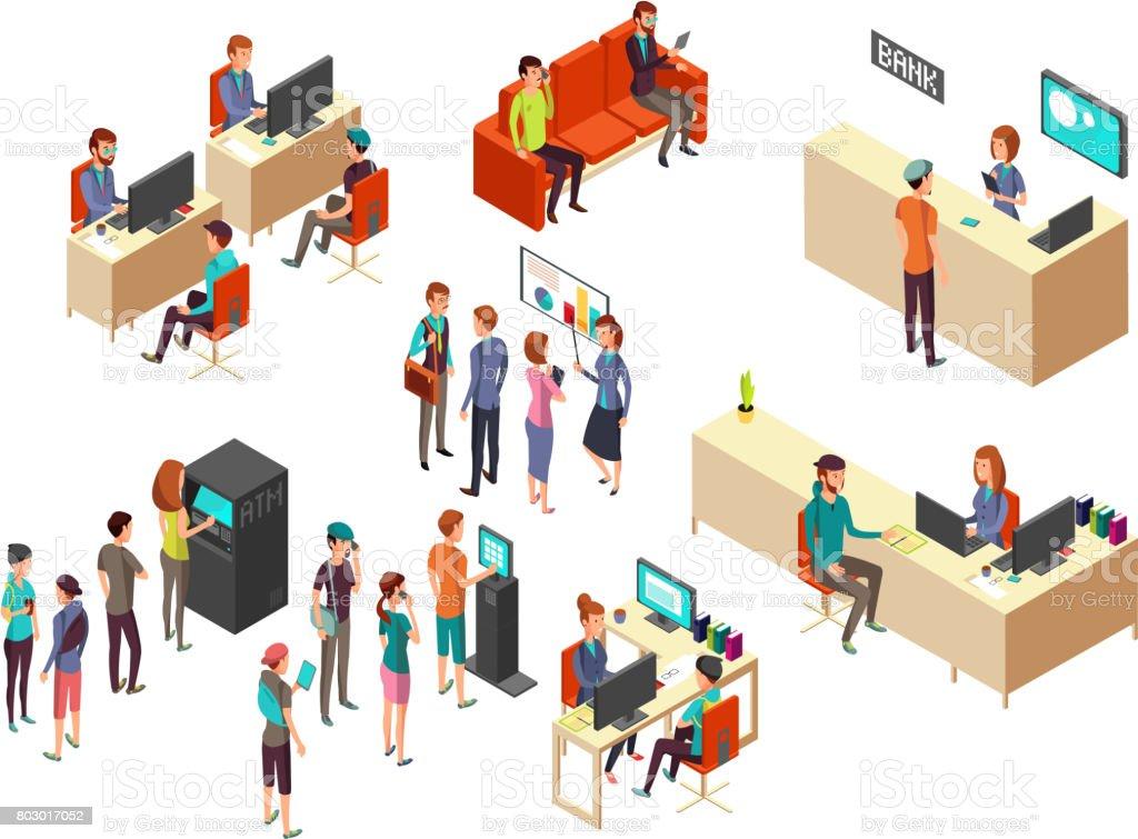 İzometrik banka müşteriler ve çalışanlar için 3d bankacılık hizmetleri kavramı vektör vektör sanat illüstrasyonu