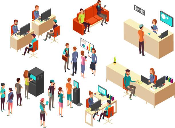 illustrations, cliparts, dessins animés et icônes de isométrique banque clients et employés pour des services bancaires 3d vectorielle concept - hall d'accueil