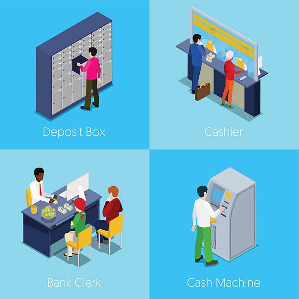 isometric bank services concept. deposit box, cashier, cash machine - 窓口点のイラスト素材/クリップアート素材/マンガ素材/アイコン素材