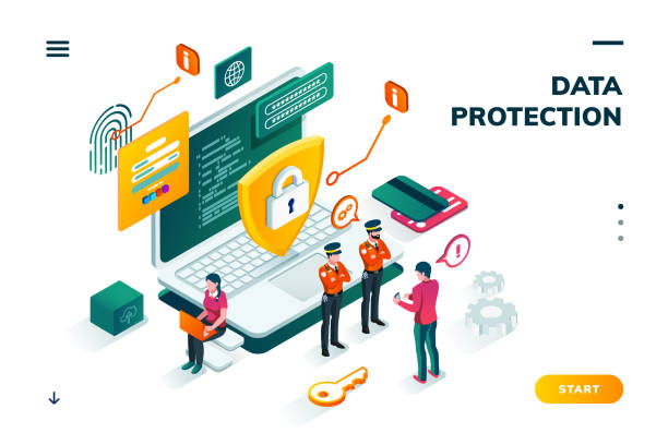 Isometric banner for internet data protection Isometric banner with notebook and policeman, shield in front of man entering password on smartphone. Cyber security, protection and privacy, internet safety and credit card steal, carder theme confidential stock illustrations