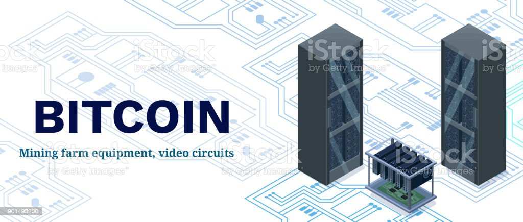 Isometric Banner With Bitcoin Mining Farm Video Circuit And Server ...