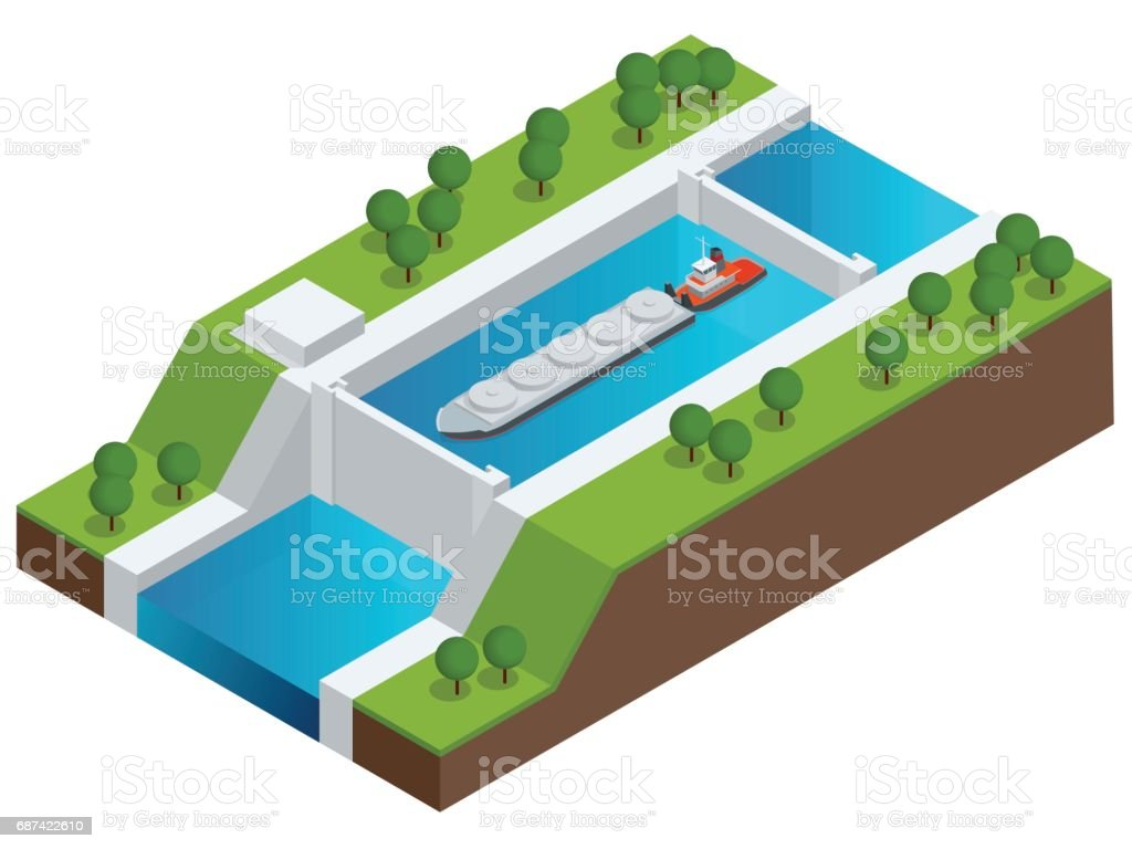 Isometric Barge on a River. Very large ship. Containerized trade, liquid bulk and dry bulk shipping. International shipping. vector art illustration